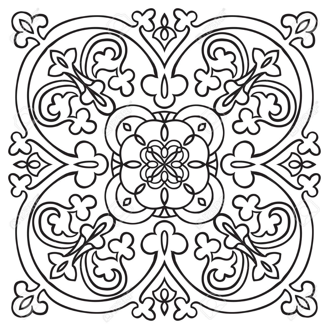1300x1300 Hand Drawing Pattern For Tile In Black And White Colors. Italian