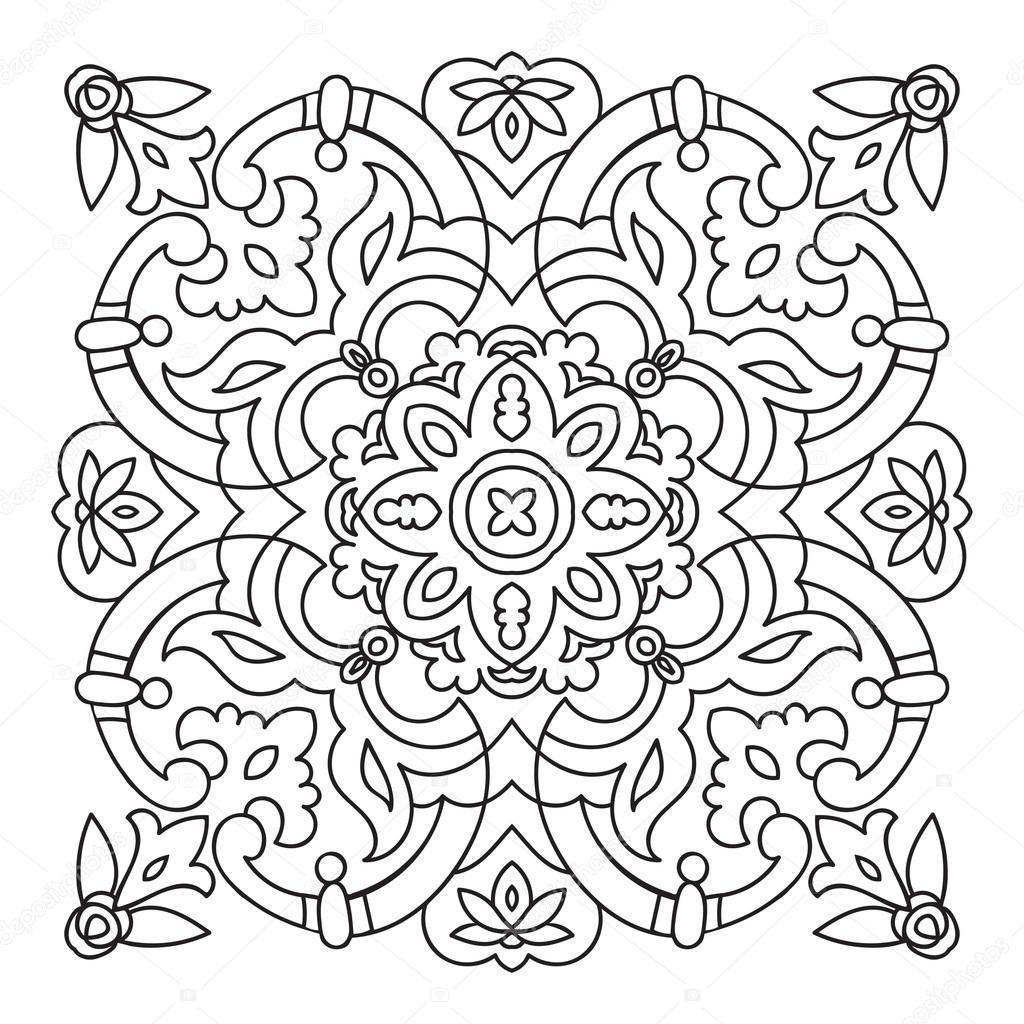 1024x1024 Hand Drawing Zentangle Mandala Element. Italian Majolica Style