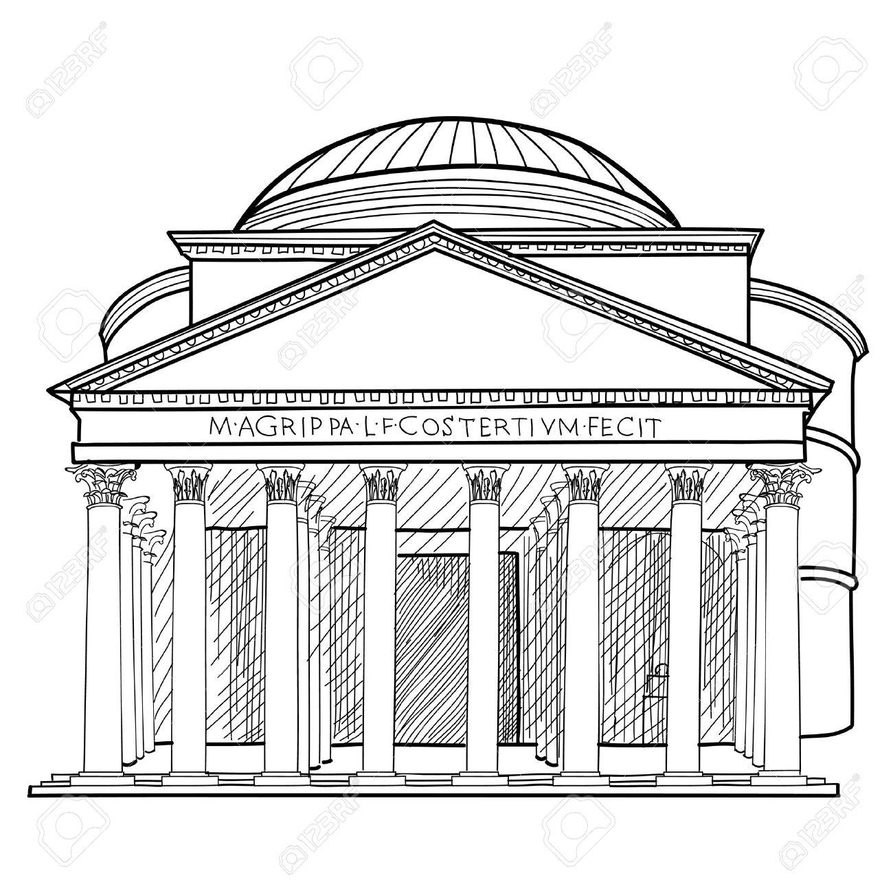 1300x1300 Rome Famous Building. Italian Landmark Panteon Isolated Sktch