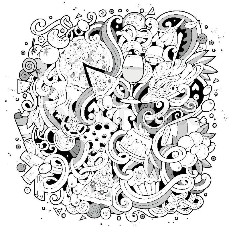 800x800 Cartoon Cute Doodles Hand Drawn Italian Food Illustration. Line