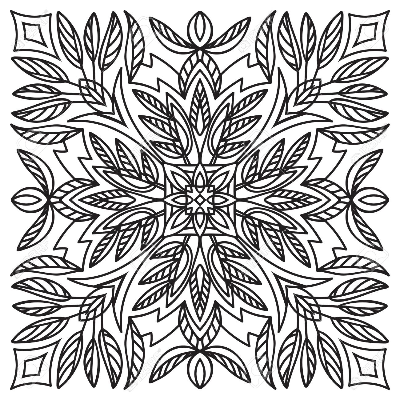 1300x1300 Hand Drawing Element. Italian Majolica Style Black And White