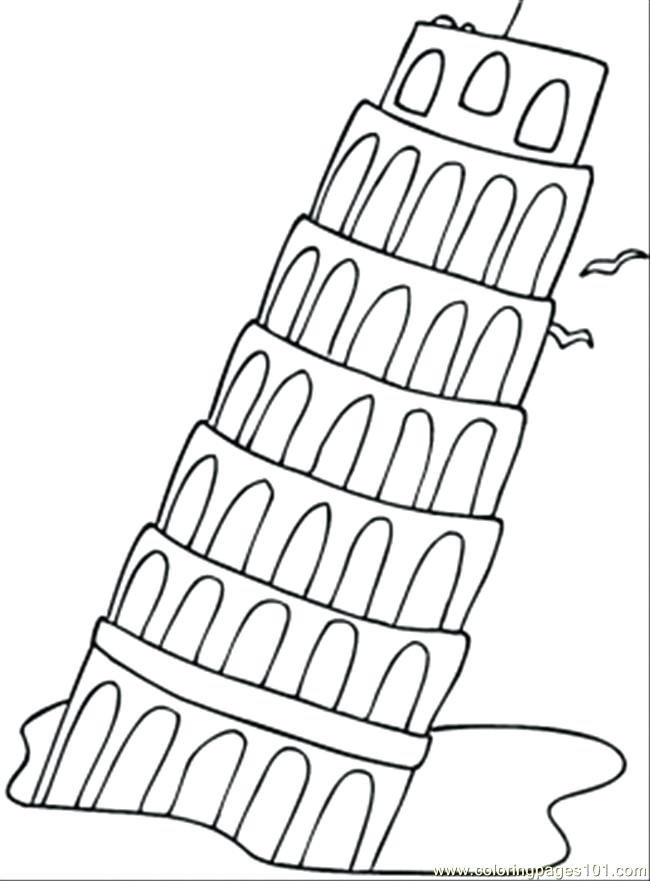 650x881 Italian Flag Coloring Page Tower Of Coloring Page Italian Flag