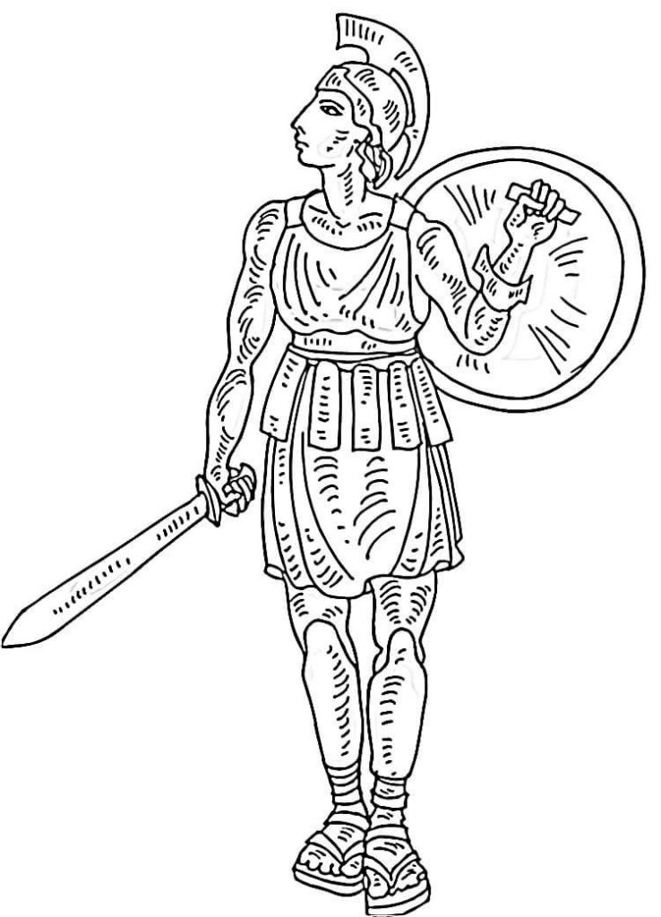 738x1024 Italian Gladiator Picture Coloring Page