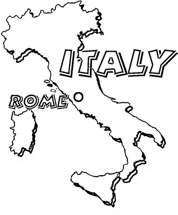 356x430 Map Of Italy. Rome Is The Capital Of Italy Coloring Page