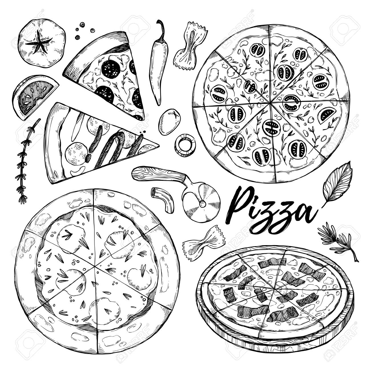 1300x1300 Hand Drawn Vector Illustrations. Pizza. Italian Food (Pizza