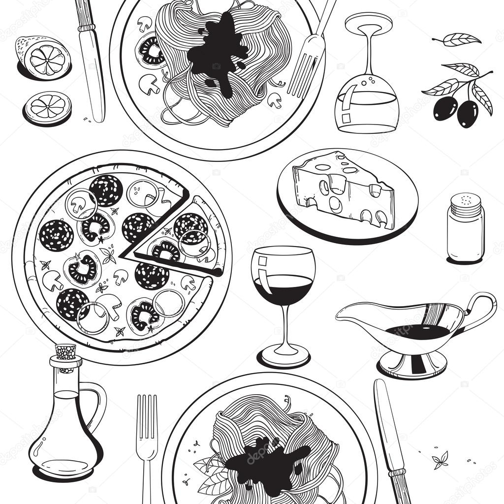 1024x1024 Hand Drawn Objects On Italian Food Theme Pizza, Pasta, Tomato