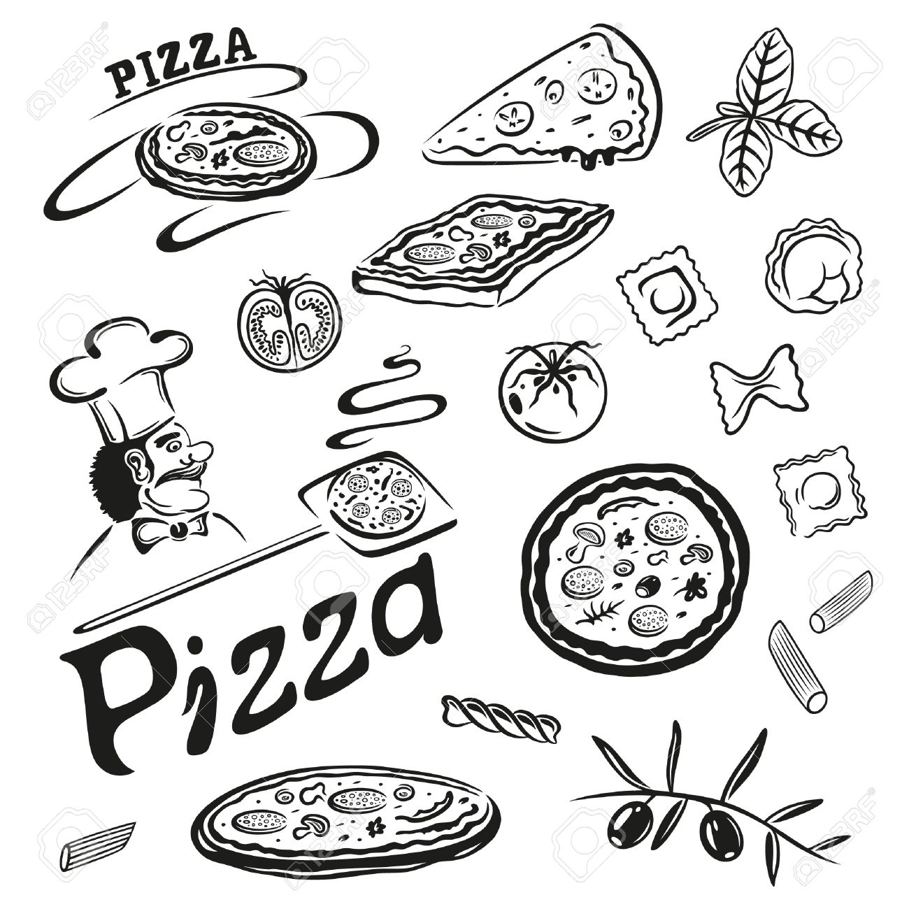 1300x1300 Italian Food, Pizza, Pasta, Black Vector Set Royalty Free Cliparts