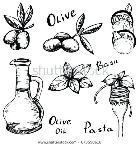 450x470 Italian Food Clipart Vector Illustration With Food Sketch Style