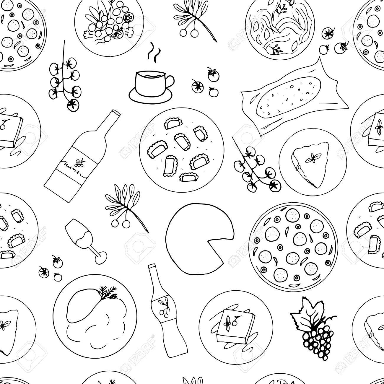1300x1300 Italian Food Hand Drawn Seamless Pattern. Italian Cuisine Menu