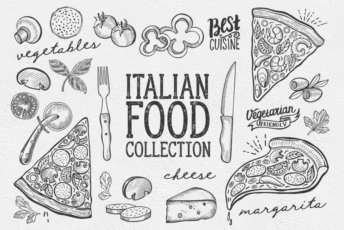 1184x792 Italian Food Illustrations