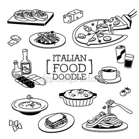 450x450 Italian Food Doodle, Hand Drawing Styles Of Italian Food Stock