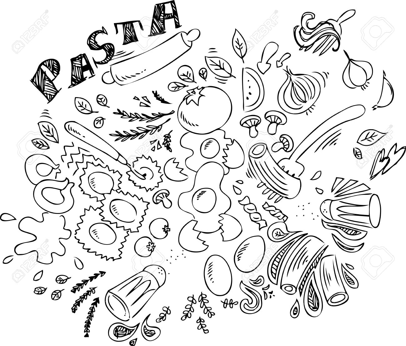 1300x1108 Pasta And Ingredients For Cooking Italian Food Royalty Free