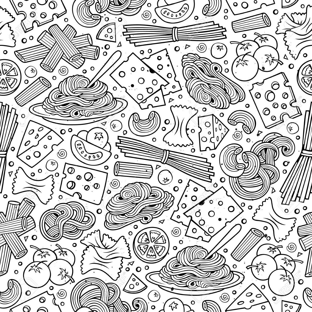 1300x1300 Cartoon Cute Hand Drawn Italian Food Seamless Pattern. Line Art