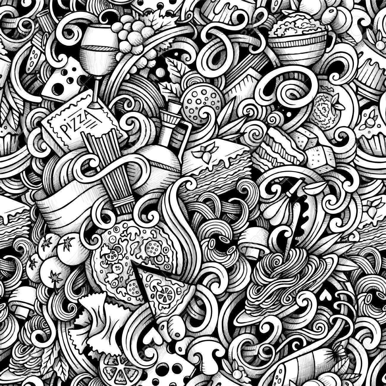 1300x1300 Cartoon Hand Drawn Italian Food Doodles Seamless Pattern. Trace