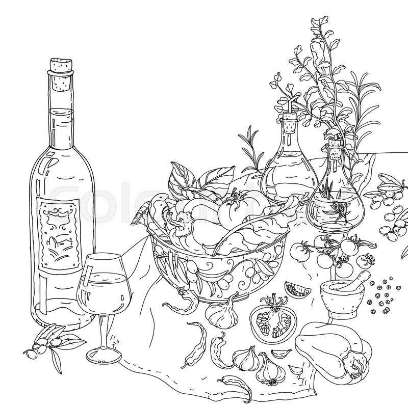 800x799 Contoured Still Life Of Vector Italian Cuisine Elements. Hand