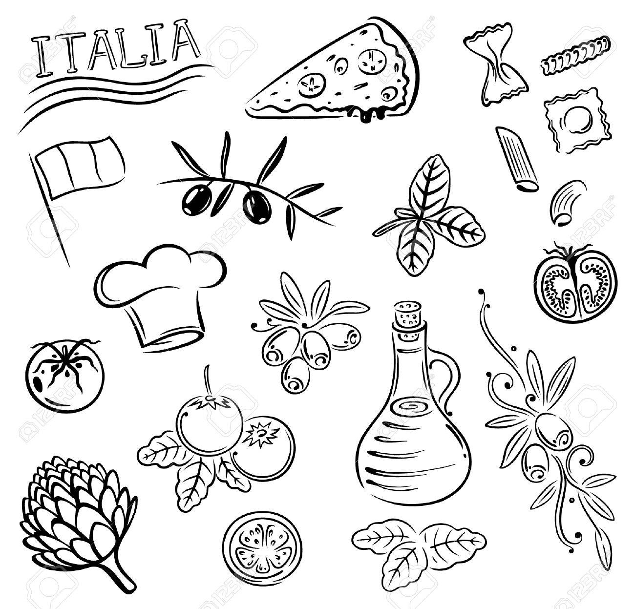 1300x1247 Gastronomy And Cooking Vector Set, Italian Food. Royalty Free