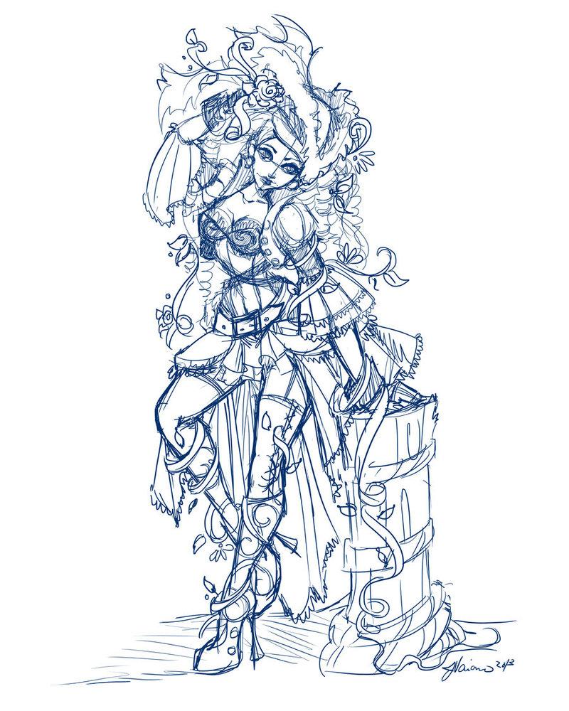 800x1000 Pirate Poison Ivy Work In Progress Sketch By Noflutter