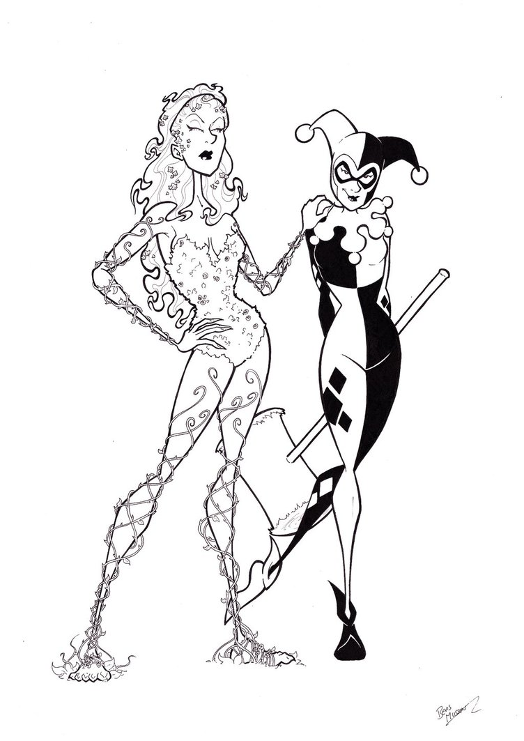 752x1063 Poison Ivy And Harley Quinn By Bevismusson