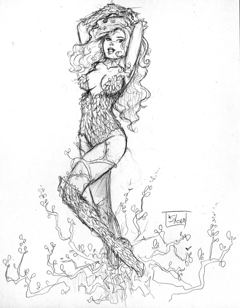 788x1013 Commission Poison Ivy Sketch By Shono