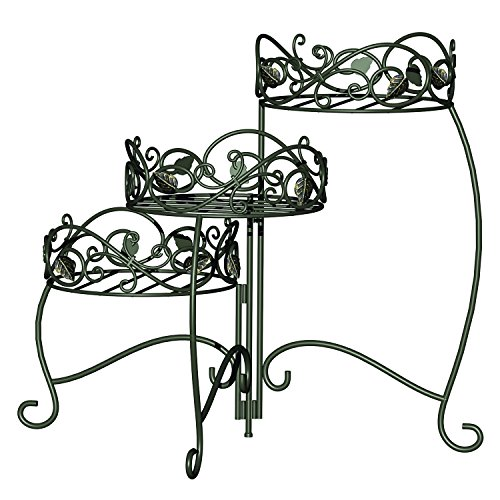 500x500 3 Tiered Folding Scroll And Ivy Plant Stand Black With Brushed