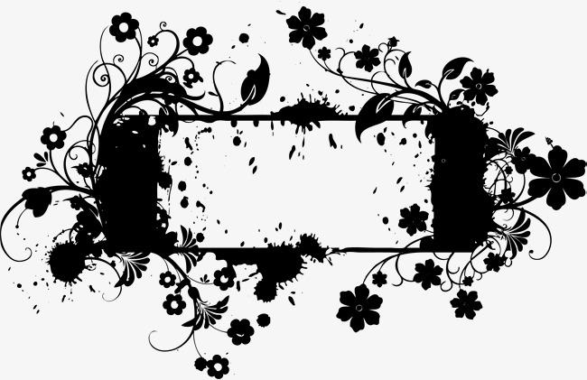 650x421 Black Flower Ivy Label, Black, Flower Vine, Label Png Image