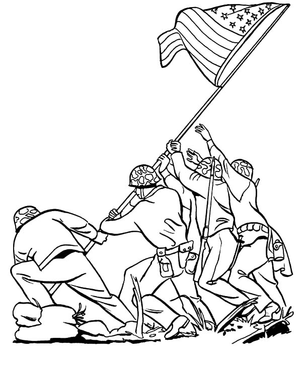 600x734 Iwo Jima Coloring Page Soldier Coloring Pages