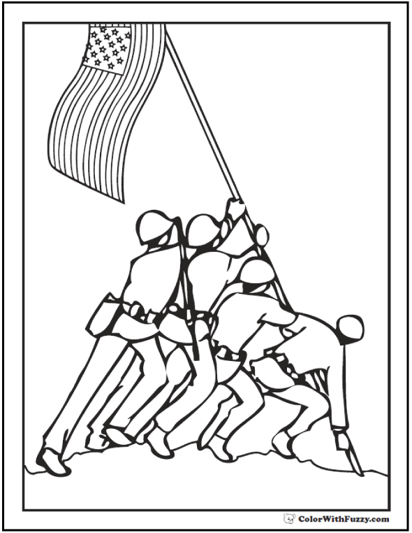 590x762 Iwo Jima Coloring Page Soldier Coloring Pages