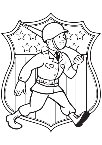 339x480 World War 2 American Soldier Coloring Page Free Printable
