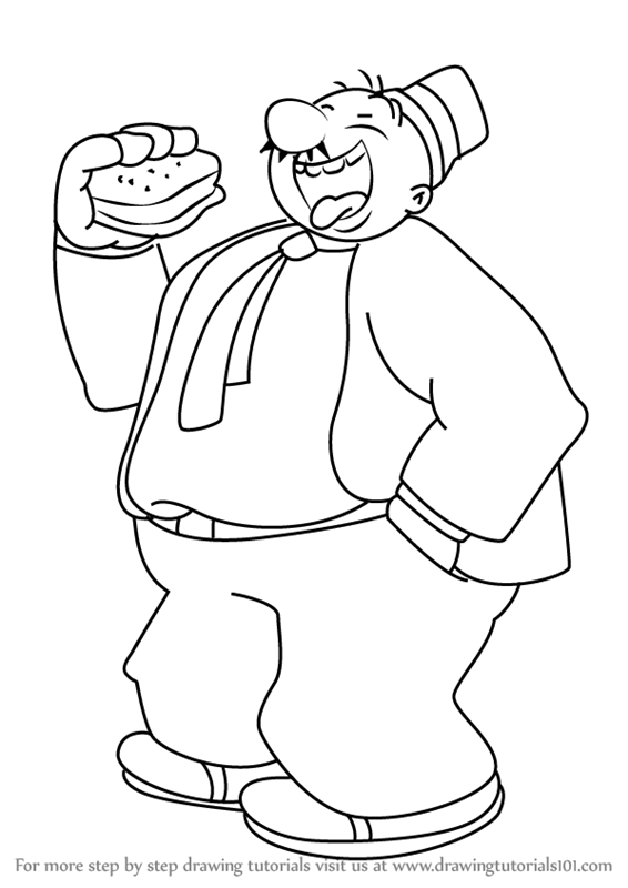 566x800 Learn How To Draw J. Wellington Wimpy From Popeye The Sailor