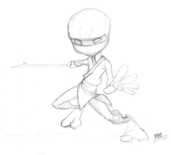 600x545 Ninja Mini Sketch By Chadwick J Coleman