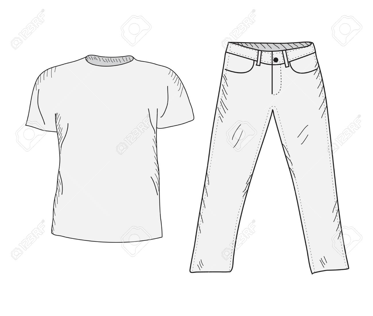 1300x1101 T Shirt And Jeans Sketch Set. Things In The Style Of Hand Drawing