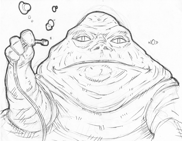 754x585 Jabba The Hutt Sketch By Kongspencil