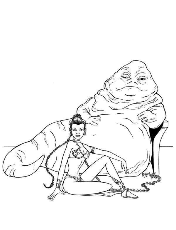 600x783 Princess Leia And Jabba By Richbernatovech