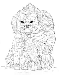 236x302 Rebo Band Ink Drawing By Jeff Confer Artwork Of Jabba The Hutt