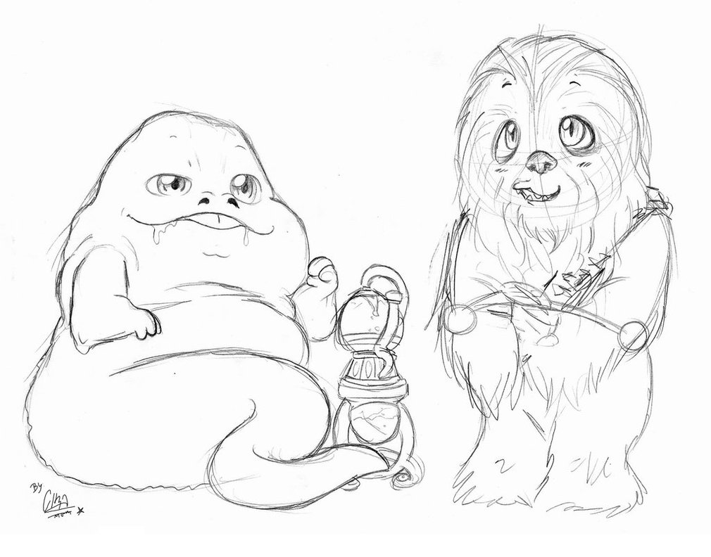 1010x792 Cute Jabba The Hutt And Chewbacca By Cirawashere