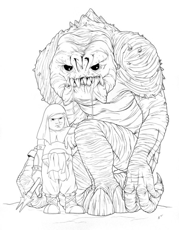 600x769 Cute Rancor And Keeper Ink Drawing By Jeff Confer Artwork