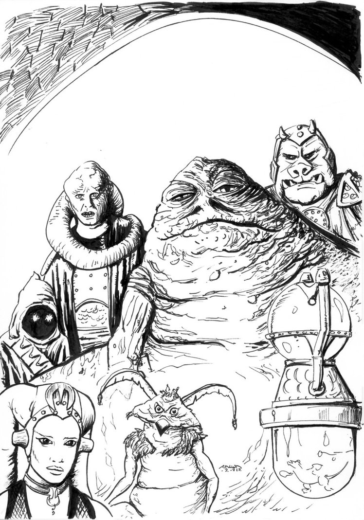 748x1069 Jabba The Hutt Coloring Page By Antonvandort