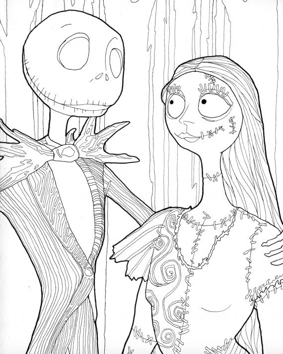 570x712 Digital Download Jack And Sally Halloween Coloring Page