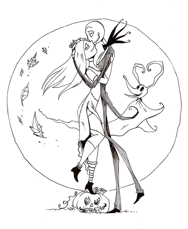 600x730 Jack And Sally Coloring Pages Jack And Sally Drawings