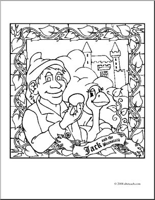 304x392 The Trial The Jack And Beanstalk Coloring Pages Black And White