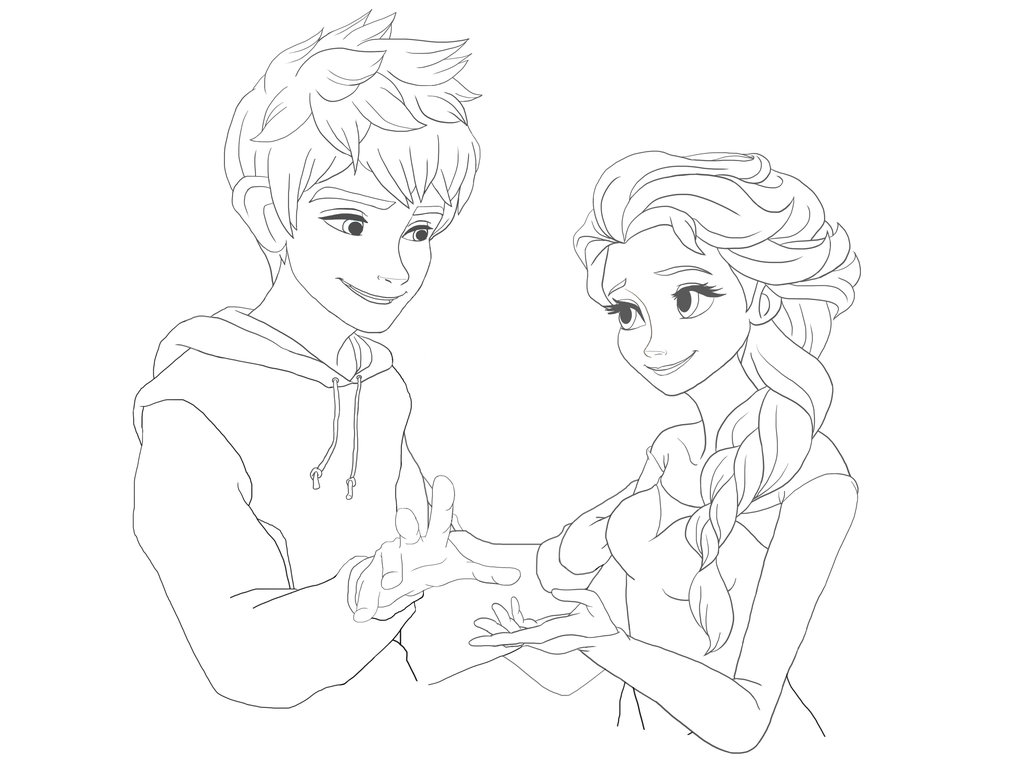 1024x781 Jack Frost And Elsa Line Art By High Snow