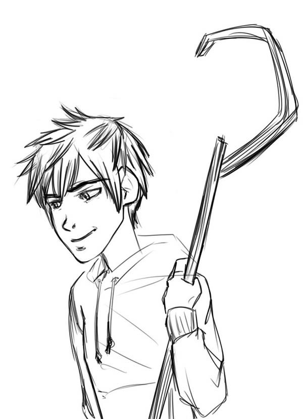 600x831 Rise Of The Guardians Jack Frost Holding His Staff Coloring Pages