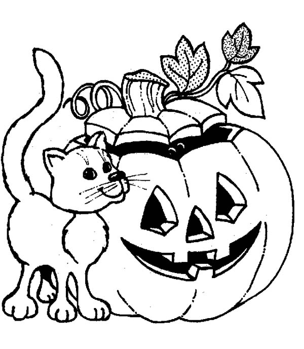 600x689 Jack O Lantern Coloring Pages With Cat Coloringstar Jack O Lantern