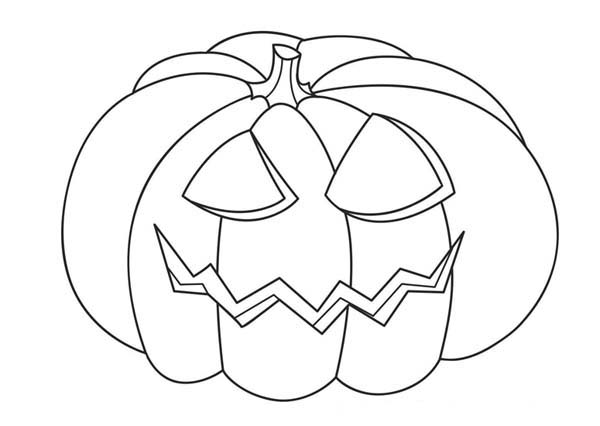 600x426 Jack O' Lantern Head On Halloween Day Coloring Page Jack O