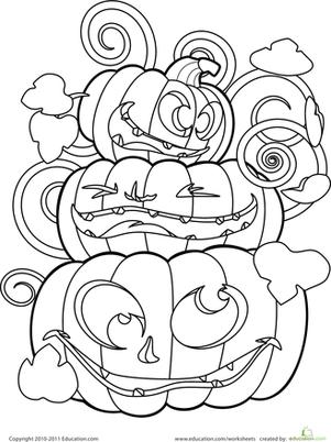 301x402 Color The Crazy Jack O' Lanterns Worksheet