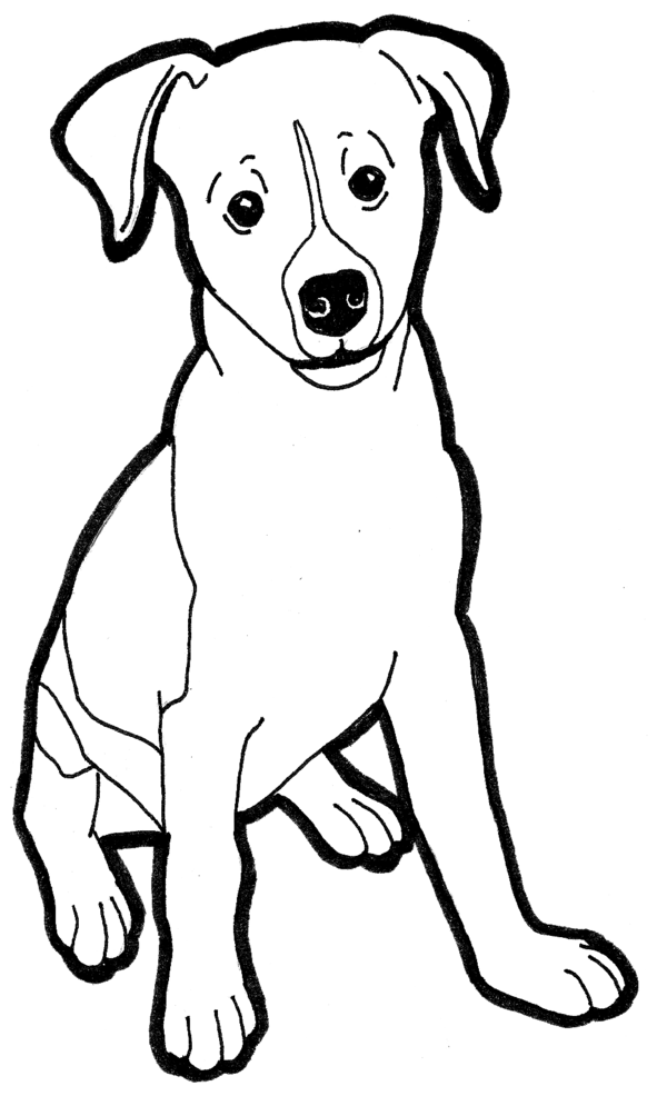 600x986 Jack Russell Clipart Black And White