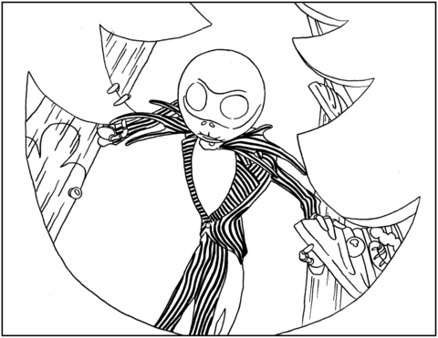 480x371 Jack Skellington From Nightmare Before Christmas Coloring Page