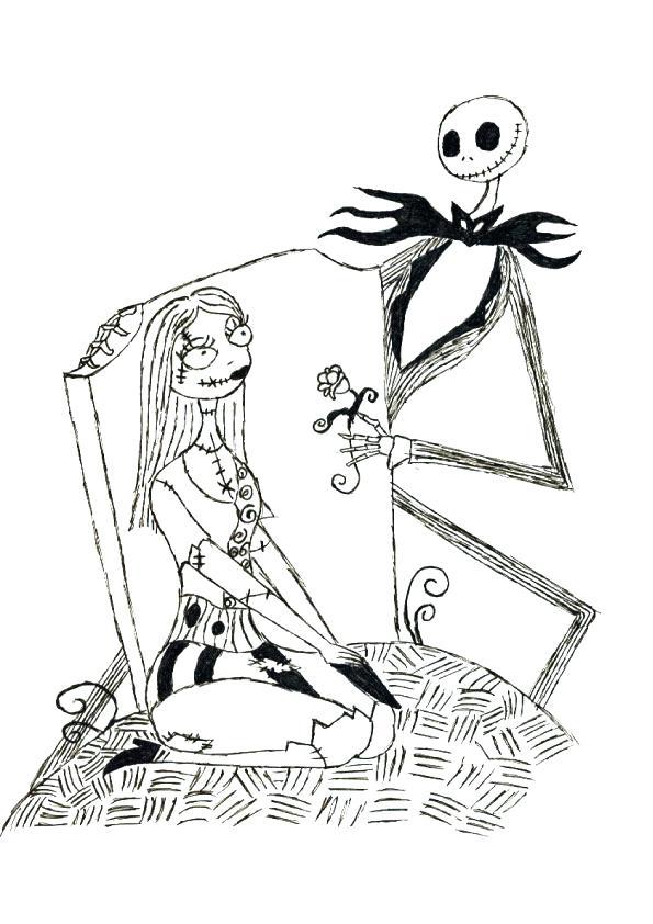 595x842 Simple Jack Skellington Coloring Pages Online Printable Nightmare