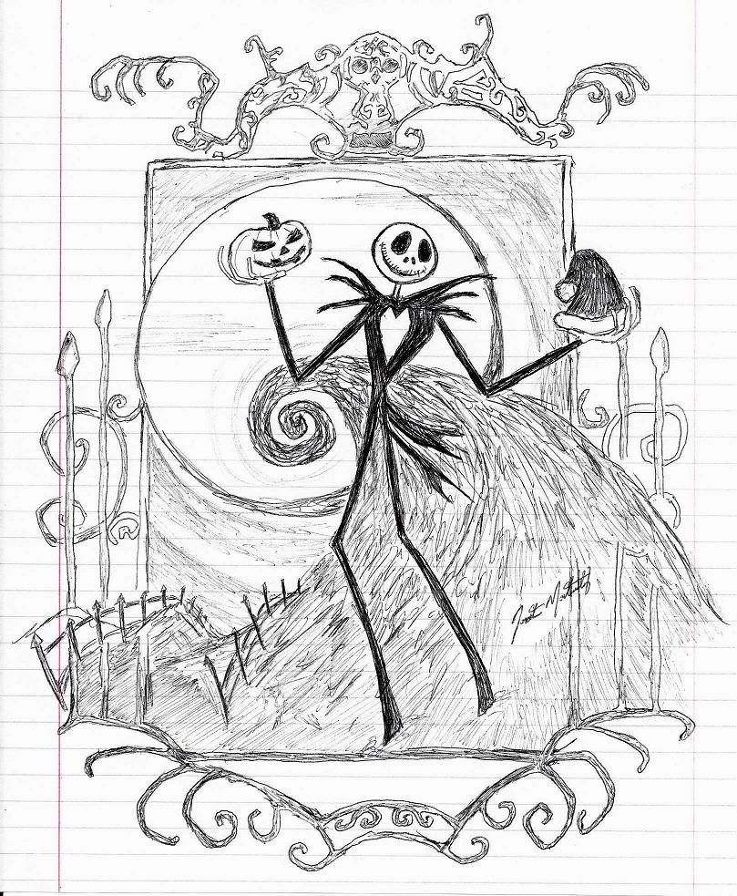 809x983 Jack Skellington (Pen Sketch) By Jonmarkiewitz