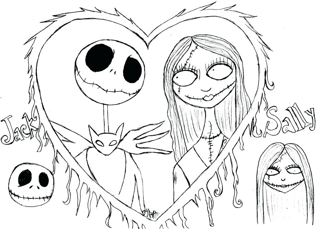 1024x736 Jack Skellington Coloring Pages Nightmare Before Coloring Images